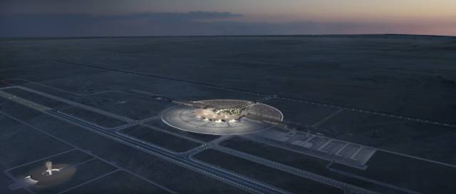 Red Sea International Airport external design at night