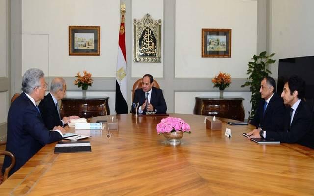 جانب من اجتماع الرئيس السيسي برئيس الحكومة ومحافظ المركزي ورئيس الرقابة الإدارية