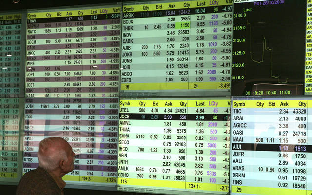مستثمر يتابع أداء الأسهم بسوق عمَّان للأوراق المالية