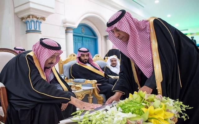 الملك سلمان خلال تدشين مشروعات بإمارة الجوف