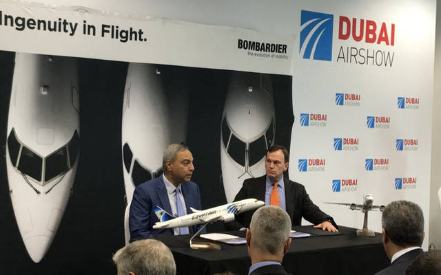EgyptAir and Bombardier officials signing the deal at the Dubai Airshow