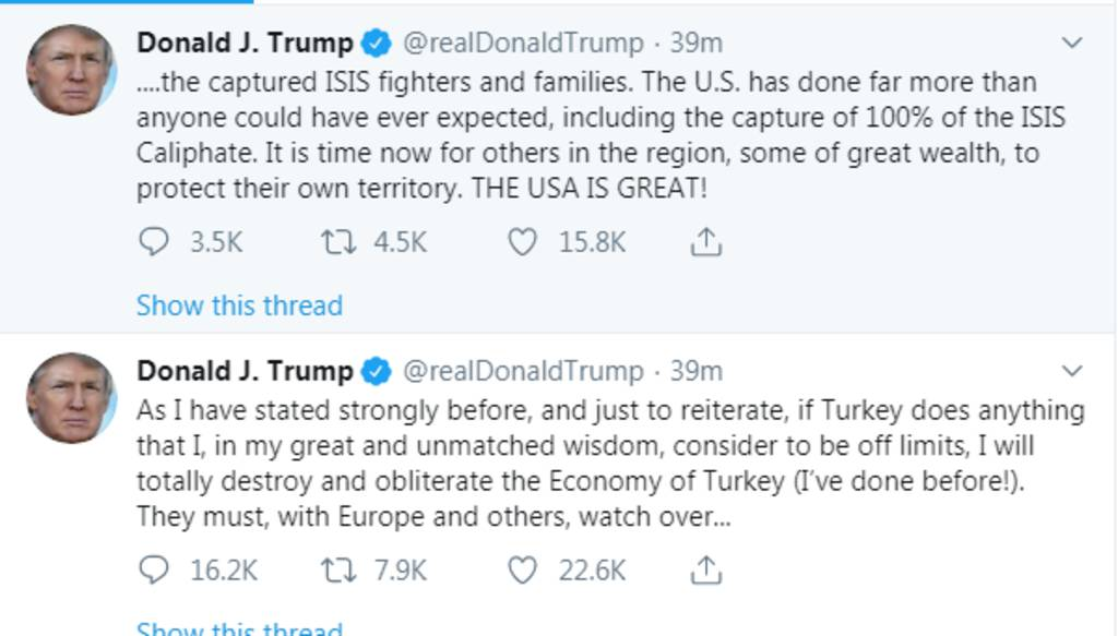 Trump threatens to destroy Turkey's economy once it launches a major operation in Syria 1024
