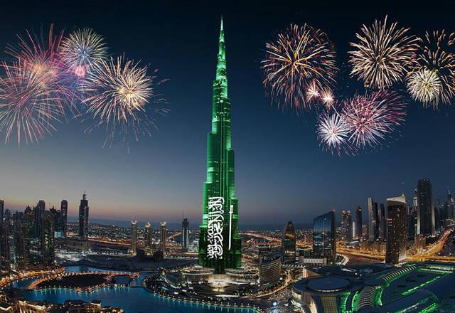 برج خليفة أثناء احتفال سابق باليوم الوطني السعودي