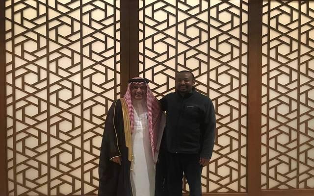 رئيس الوزراء الإثيوبي آبي أحمد، مع وزير المملكة للشئون الأفريقية أحمد قطان