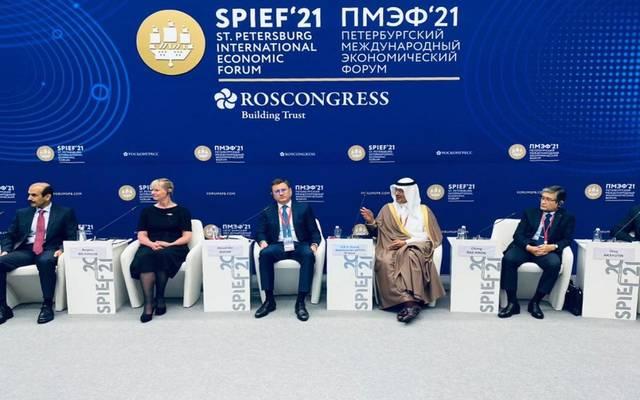 وزير الطاقة السعودي خلال مشاركته في مؤتمر منتدى سانت بطرسبرغ الاقتصادي الدولي