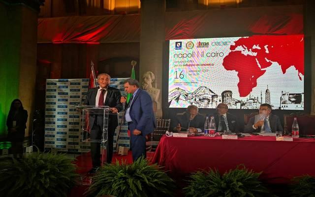 """وزير التموين المصري خلال مؤتمر ومعرض التجارة الأول """"القاهرة - نابولي"""""""