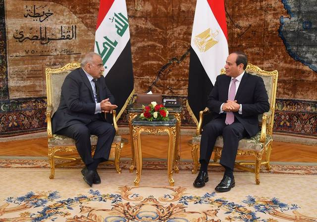 السيسي مع عبد المهدي بقصر الاتحادية