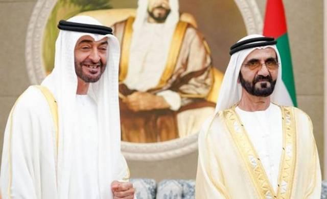 الشيخ محمد بن راشد ، رئيس مجلس الوزراء الإماراتي وولي عهد أبوظبي نائب القائد الأعلى للقوات المسلحة، الشيخ محمد بن زايد