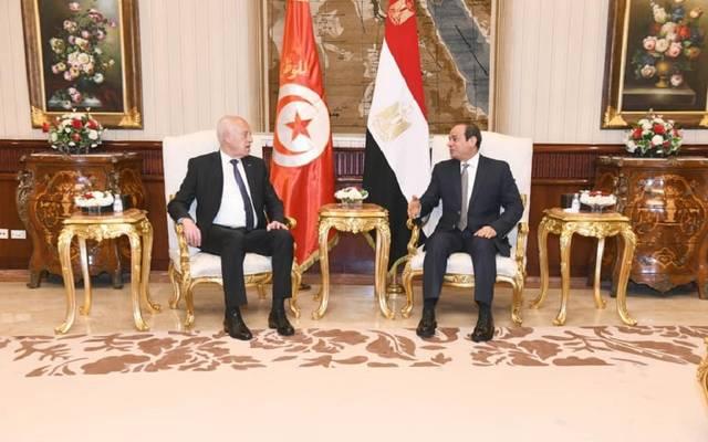 الرئيس عبد الفتاح السيسي ونظيره التونسي قيس سعيد