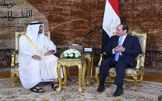 الرئيس السيسي مع ولي عهد أبوظبي في قصر الاتحادية بالقاهرة