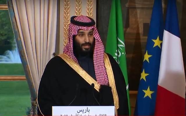 ولي عهد السعودية الأمير محمد بن سلمان في مؤتمر صحفي مشترك مع الرئيس الفرنسي بباريس