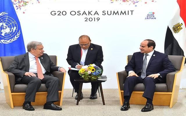 بالصور..السيسي يبحث قضايا المنطقة وملفات التعاون مع سكرتير الأمم المتحدة