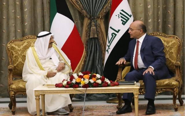 خلال لقاء الرئيس العراقي برهم صالح مع أمير الكويت الشيخ صباح الأحمد في بغداد