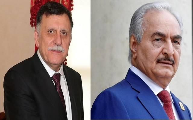 المشير خليفة حفتر وفايز السراج رئيس حكومة الوفاق الليبية