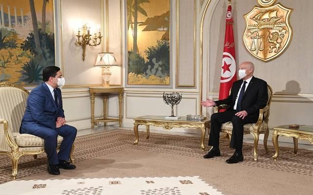 الرئيس التونسي وناصر بوريطة ووزير الشؤون الخارجية المغربي