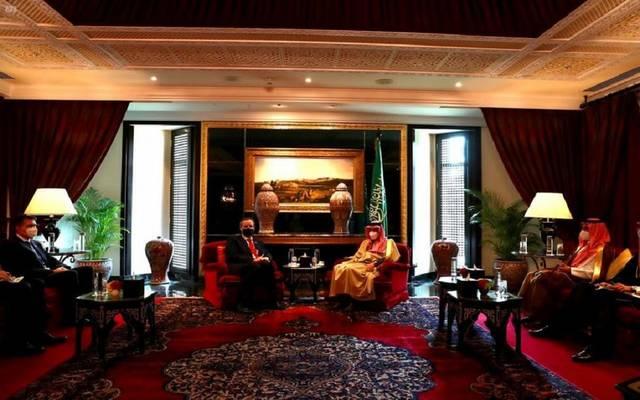 جانب من لقاء الأمير فيصل بن فرحان، وزير الدولة الألماني للشؤون الخارجية