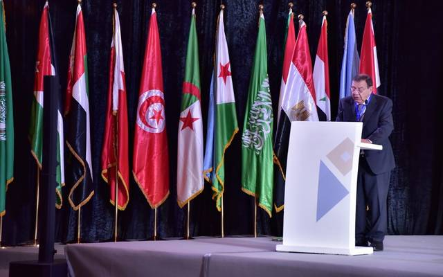 محافظ البنك المركزي الأردني زياد فريز خلال كلمته بالجلسة الافتتاحية لاجتماع محافظي البنوك المركزية اليوم