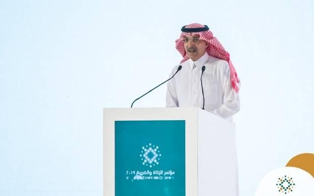 وزير المالية السعودي محمد الجدعان خلال مؤتمر الزكاة والضريبة
