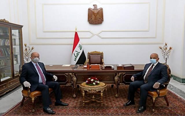 رئيس الجمهورية العراقي، برهم صالح، خلال استقبال وزيري التعليم العالي والبحث العلمي والاتصالات
