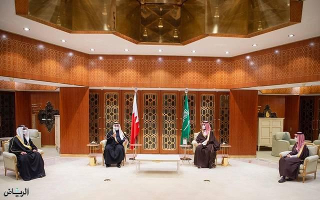 جانب من لقاء الأمير محمد بن سلمان وولي عهد البحرين
