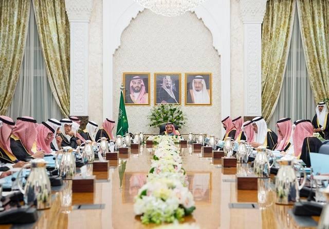 جانب من جلسة مجلس الوزراء برئاسة الملك سلمان بن عبدالعزيز، في نيوم اليوم الثلاثاء