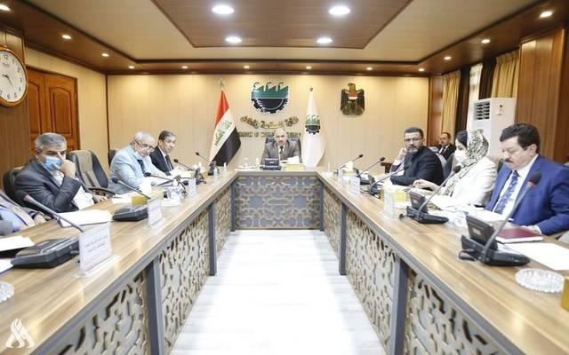 وزير الصناعة العراقي خلال الاجتماع