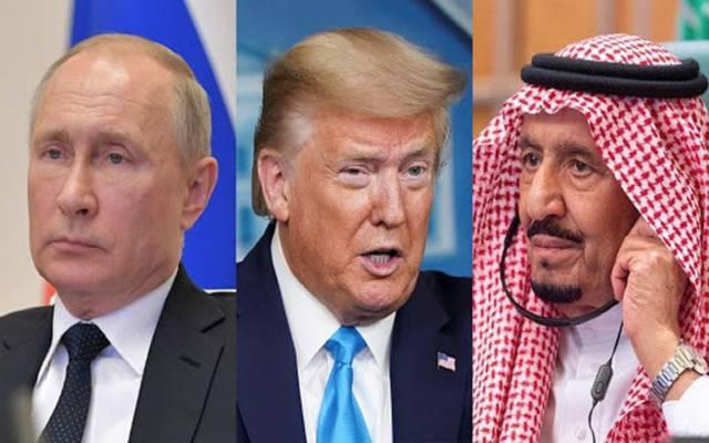 خادم الحرمين الشريفين ودونالد ترامب وفلاديمير بوتين