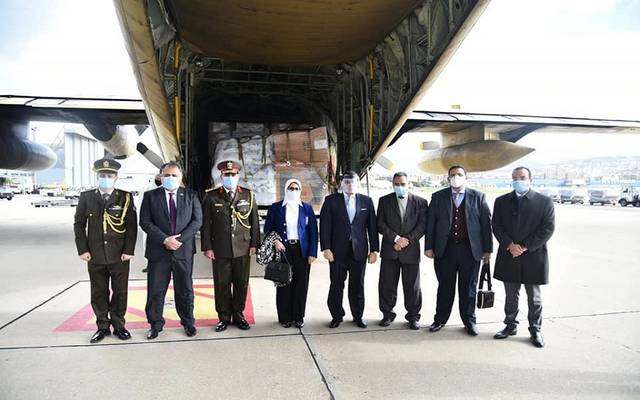 وزيرة الصحة المصرية خلال زيارتها إلى بيروت