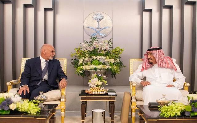 خلال استقبال العاهل السعودي الملك سلمان لرئيس أفغانستان محمد أشرف غني