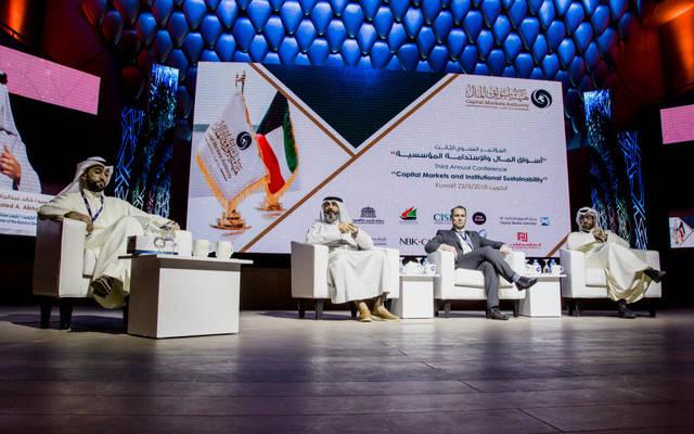 خالد الخالد خلال مشاركته في المؤتمر السنوي الثالث الذي نظمته هيئة أسواق المال اليوم