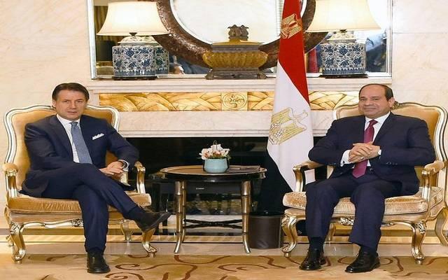 الرئيس السيسي في لقاء سابق مع رئيس وزراء إيطاليا