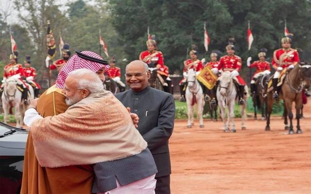 جانب من استقبال ولي العهد السعودي الأمير محمد بن سلمان في الهند