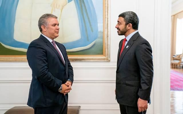 رئيس كولومبيا خلال استقبال وزير الخارجية الإماراتي