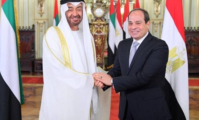 الرئيس عبدالفتاح السيس مع الشيخ محمد بن زايد ولي عهد أبوظبي
