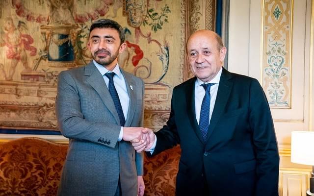 عبدالله بن زايد يبحث مستجدات الأوضاع بالمنطقة مع نظيره الفرنسي