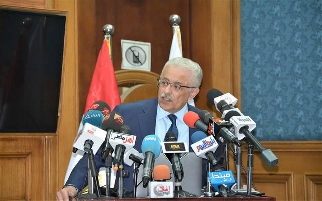 وزير التربية والتعليم طارق شوقي خلال مؤتمر صحفي بالوزارة اليوم السبت