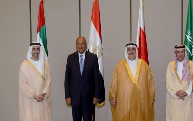 جانب من اجتماع سابق لوزراء خارجية السعودية ومصر والإمارات والبحرين