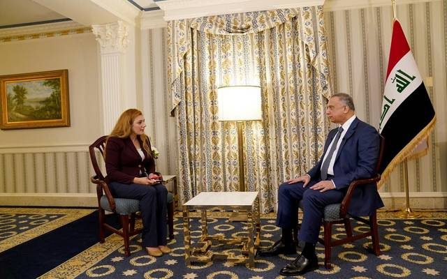 جانب من مقابلة رئيس مجلس الوزراء مع قناة العراقية