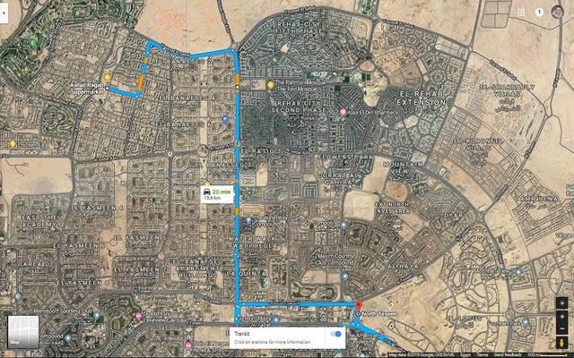 مسار أول خط ضمن منظومة النقل الداخلي بمدينة القاهرة الجديدة