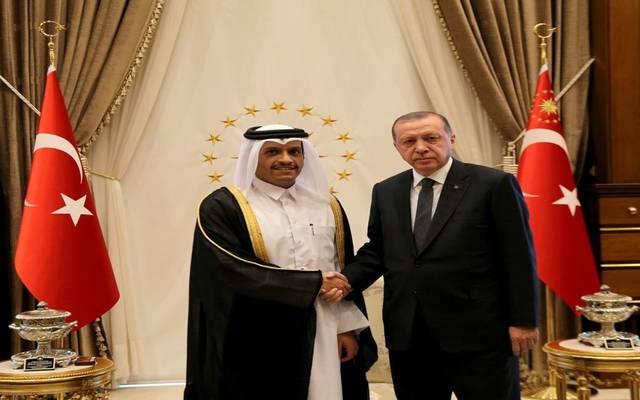 وزير الخارجية القطري مع الرئيس التركي