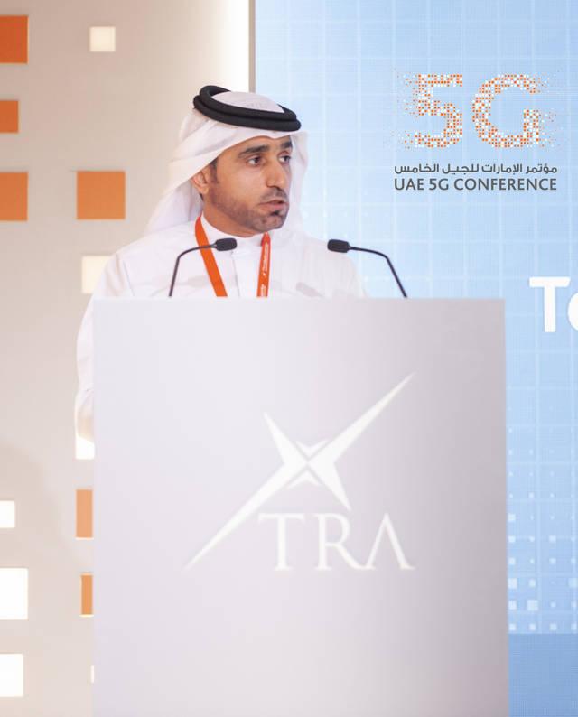 حمد عبيد المنصوري المدير العام للهيئة العامة لتنظيم قطاع الاتصالات خلال المؤتمر
