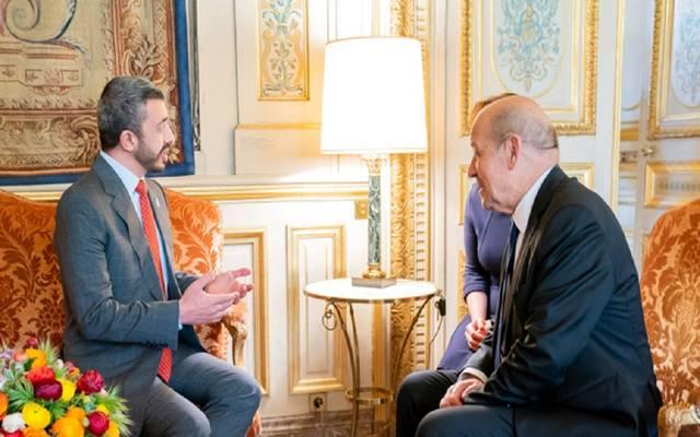 لقاء سابق بين وزيرا  الخارجية في الإمارات وفرنسا