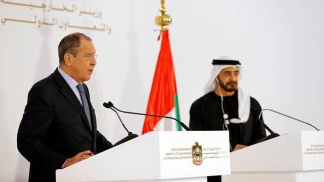 عبد الله بن زايد وزير الخارجية الإماراتي ونظيره الروسي لافروف