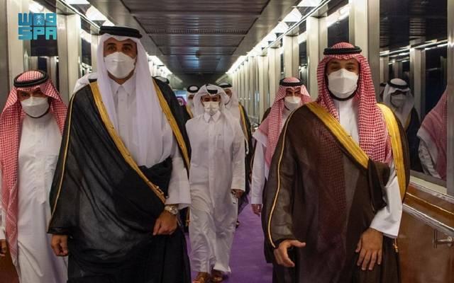 الأمير محمد بن سلمان يستقبل أمير قطر - الصورة من وكالة الأنباء السعودية