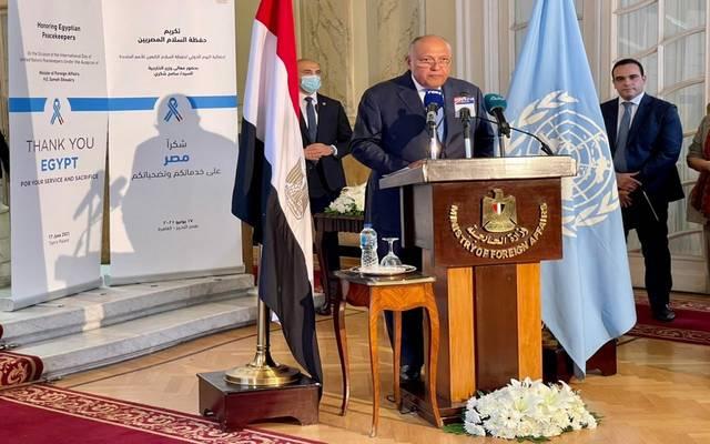 سامح شكري خلال كلمته في احتفالية الأمم المتحدة باليوم العالمي لحفظة السلام