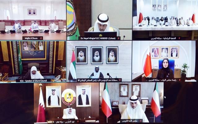 جانب من اجتماع رؤساء المجالس النيابية الخليجية عبر الاتصال المرئي