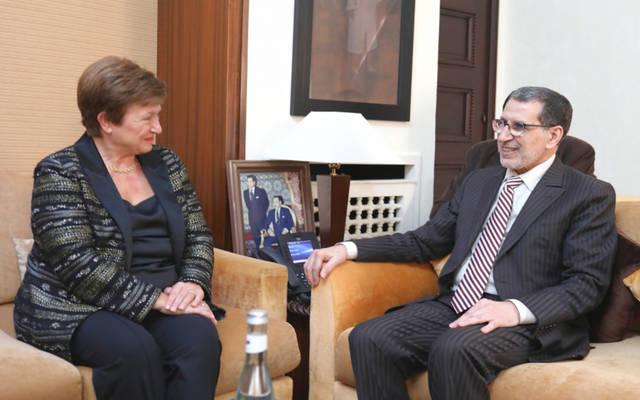 رئيس حكومة المغرب سعد الدين العثماني خلال مباحثاته مع المديرة العامة لصندوق النقد الدولي كريستالينا جورجييفا