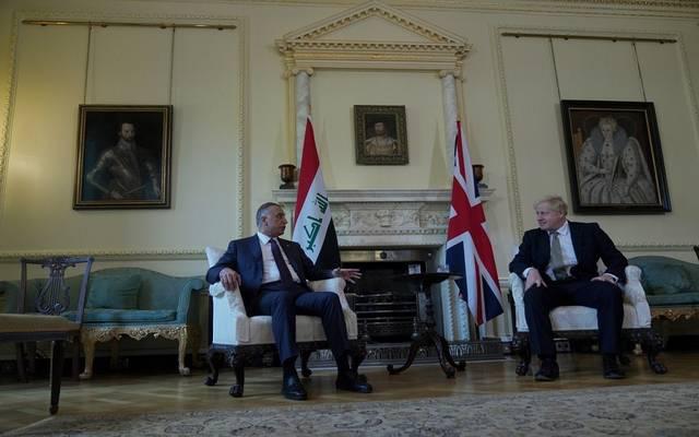 رئيس الوزراء العراقي، مصطفى الكاظمي، يلتقي نظيره البريطاني في لندن لبحث التعاون الثنائي